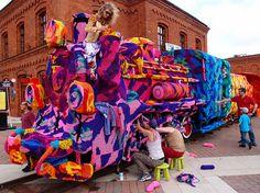 Olek's Colossal Yarn Bomb of a Four-Train Locomotive