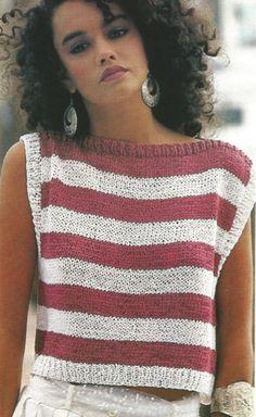 Diy Crafts - Knit Womans Sleeveless Slash Neck Sun Top Striped Sweater /OhhhMama/ pull over easy knit tunic jum Vintage Crochet Patterns, Vintage Knitting, Sweater Knitting Patterns, Knitting Designs, Knitting Tutorials, Crochet Woman, Crochet Top, Crochet Mittens, Crochet Granny