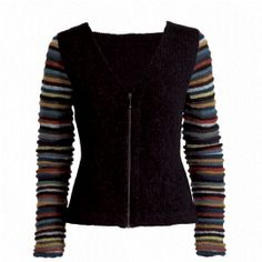 Design: Lis A. Mortensen, No. 3 from the booklet No. 1, no. 2, no. 3 ... from Isager knit. I love the colorful sleeves against the Black body and the zipper