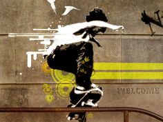Skateboard Street Art. Skateboarding is one of my favourite sports and to make art as if the skateboarder is doing a trick on the rail is almost as if two laws have been broken, the art work and the skateboarding skating where he shouldn't be. (Sengez. M, 2009.)
