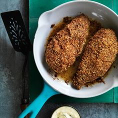 Pecan-Crusted Chicken with Mustard Sauce | Nutty sautéed chicken dipped in a creamy mustard sauce delivers nicely varied textures and flavors. Using cornstarch rather than flour makes the crust especially crisp.