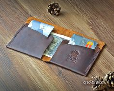 Minimalist leather wallet Brown leather men by OrsoBrunoRussia
