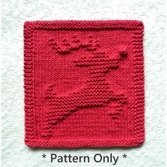 Knitted Washcloth Patterns, Knitted Washcloths, Dishcloth Knitting Patterns, Knit Dishcloth, Christmas Knitting Patterns, Crochet Patterns, Knitting Blankets, Rudolph Red Nosed Reindeer, Rudolph The Red