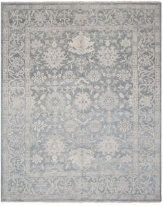 Oushak Aguas Hand Knotted Wool Blue Area Rug