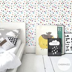Cheerhuzz Modern Watercolor Polka Dots - Multicolor Wallpaper.  https://cheerhuzz.com/collections/wall-paper/products/watercolor-polka-dots-multicolor-wallpaper-wp193?variant=12640153028