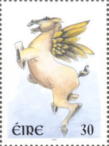 Sello: Pegasus (Irlanda) (Greetings Stamps 2000 - Mythical Creatures) Mi:IE 1212,Sg:IE 1296,AFA:IE 1166