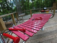 A music station at the Treetop Outpost at Conner Prairie,