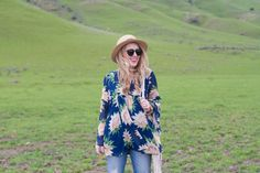 Cropped Jeans & Floral Bell Sleeve Top