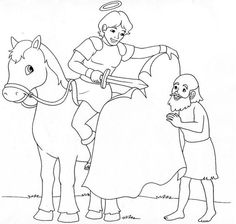 Saint Martin of Tours Catholic Coloring page. Feast day (Martinmas) is November Hl Martin, Saint Martin, Flag Coloring Pages, Coloring Pages For Kids, Coloring Books, Religious Education, Religious Art, St Martin Of Tours, St Therese Of Lisieux
