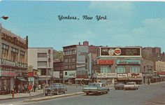 Yonkers New York Main Street - Westchester County Vintage Postcard circa 1950s