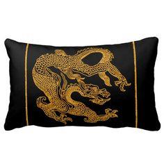 Golden oriental dragon 01 throw pillows
