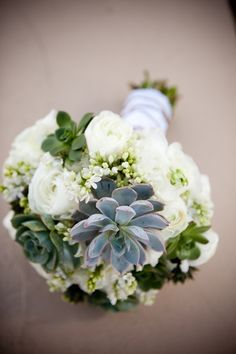 white and succulent wedding flower bouquet, bridal bouquet, wedding flowers, add pic source on comment and we will update it. www.myfloweraffair.com can create this beautiful wedding flower look.
