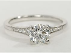 classic petite milgrain diamond engagement ring- totally perfect. Super cute