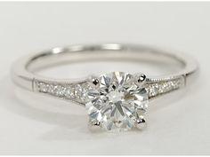 classic petite milgrain diamond engagementring