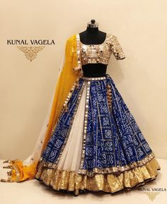 The Royal Blue Bandhani Lehenga - For enquiries kindly whatsapp / call on or email on Garba Dress, Navratri Dress, Lehnga Dress, Chaniya Choli For Navratri, Indian Wedding Wear, Indian Bridal Outfits, Indian Designer Outfits, Designer Dresses, Half Saree Designs