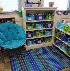 classroom, organized classroom, organized books, children's books, home organization, blue and green room, kids toys, kids organization, DIY organizing,