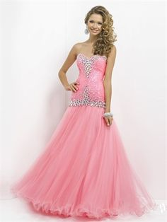 Strapless Sweetheart Beadings Mermaid Tulle Prom Dress PD2775