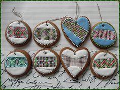 pierniczki, serce, Boże Narodzenia, ciastko, zdobione