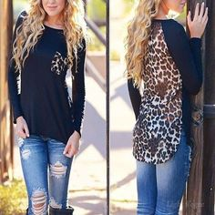 New Women Leopard Long Sleeve Casual Tee T-Shirt Blouse Ladies Loose Sexy Tops #LightVogue #Blouse #Casual