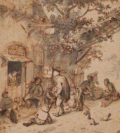 Cornelis Dusart (1660 - 1704), Straatmuzikant en zijn publiek voor een herberg / Hurdy-Gurdy Player and his Audience in front of an Inn © State Pushkin Museum Moskou