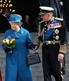 Pin for Later: A Look at Charming Prince Philip Through the Years  Prince Philip and Queen Elizabeth II held hands as they left London's St. Paul's Cathedral in March 2015.