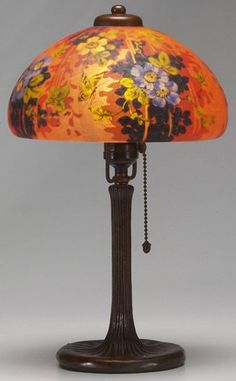 Handel lamp handel lamp 5487 is extremely similar to lamp 5484 handel lamp 7011 this lamp is decorated with yellow butterflies and purple pansies the mozeypictures Choice Image