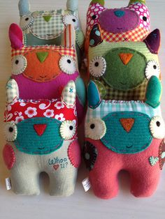 Fabric Animals, Sock Animals, Fabric Toys, Fabric Scraps, Sewing Crafts, Sewing Projects, Monster Toys, Ugly Dolls, Sock Dolls
