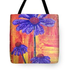 PURPLE DAISY Tote Bag for sale by T Fry-Green. $31.00 The tote bag is machine washable, available in three different sizes, and includes a black strap for easy carrying on your shoulder.  All totes are available for worldwide shipping and include a money-back guarantee. #purpledaisy #purple #flowers #nature #orangeandyellow #orange #yellow #fashionbag #tfrygreenart #tfrygreen #homeatlaststudio #art #original #tote #toteart #fineartamerica