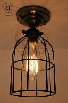 New Cage ceiling light Industrial Aluminium ceiling light, Antique Edison Bulb, Lamp, Rustic Lighting
