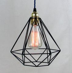 Diamond Cage Pendant Light Modern diamond shaped cage pendant with decorative filament light bulb an Cage Pendant Light, Cage Light, Modern Pendant Light, Pendant Lamp, Light Bulb, Pendant Lights, Ceiling Pendant, Ceiling Rose, Ceiling Lights