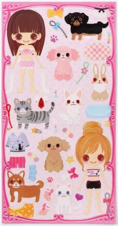 pets and girls dress up doll 3D stickers