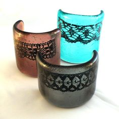 Set of 3 Fused Glass Curve Sculpture with Lace details by Stevie Davies