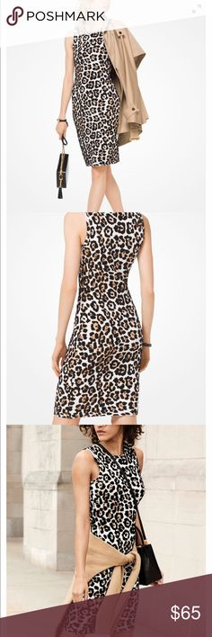 Michael Kors Leopard Stretch Viscose Dress WORN ONCE, Michael Kors current fall collection leopard print stretch dress  • 61% Viscose/38% Nylon/1% Elastane  • Machine Wash  • Size small Michael Kors Dresses Midi