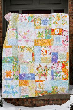 "357:365  I finished up my vintage sheet quilt this afternoon.  I am so happy with how it turned out.  It's super soft! It will help keep things cheery through the cold gray Ohio winter!  This pattern is Sparkling Cider by All Washed Up.  It's 64""x80"", the perfect snuggle size!  I used all vintage sheets including the neutral used for the stars, the whole sheet backing, and the pieced binding.  Blogged"