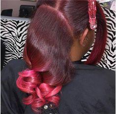 Classy Hairstyles, Black Girls Hairstyles, Weave Hairstyles, Curly Hair Styles, Natural Hair Styles, Burgundy Hair, Coloured Hair, Braids For Black Hair, Natural Hair Inspiration