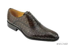 Mens Real Leather Perforated Embossed Polished Brown Oxford Lace up Dress Shoes