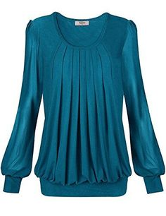 453471e61b2 Timeson Blouse For Women, Womens Long Sleeve Scoop Neck Pleated Front  Fitted Blouse Top Medium