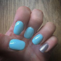 Blue and glitter summer acrylic nails