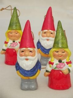 tiny Book of Gnomes & lot of gnome Christmas tree ornaments, 70s vintage