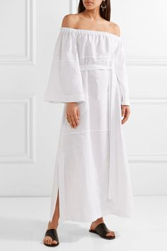 Lisa Marie Fernandez   Off-the-shoulder pointelle-trimmed linen-gauze maxi dress   NET-A-PORTER.COM