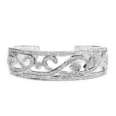 Designer Pave Cubic Zirconia Scrolls Cuff Bracelet