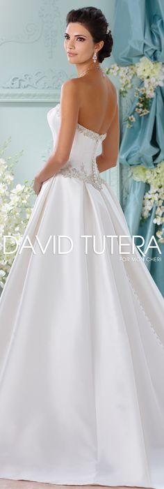 The David Tutera for Mon Cheri Spring 2016 Wedding Gown Collection - Style No. 116223 Selena #satinweddingdresses