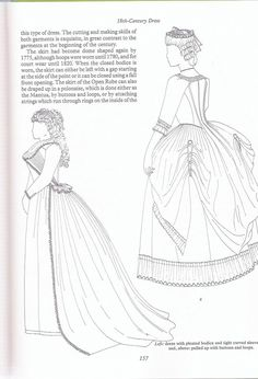 tuto:Robe anglaise retroussée à la polonaise: partie XIV: le retroussé Partialy incorrect bc a polonaise is a different kind of dress, but here is a good look at the shape in the back and the back seams with the pleats