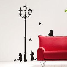Les chats d'animaux de moins de Street Light Stickers muraux - EUR € 18.17