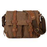 Kenox Vintage Classic Canvas Laptop Messenger Bag Crossbody School Bag Business Briefcase Brown 16 Inches | Wo~Bags