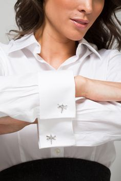 White shirt with Miss Links 'Tina' dragonfly cufflinks