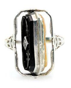 Antique Habille Cameo Diamond & Onyx Filigree Flip Ring 14k White Gold Size 7