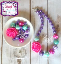 Hot Pink Purple Turquoise Flower Mini Chunky Beads DIY Chunky Necklace kit Beads Make it yourself kit add a bracelet kit option