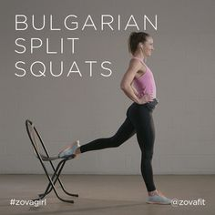 "zovafit: "" The Bulgarian split squat variation is a great way to take your regular squats up a notch. Grab a chair, or box and get ready to work on your lower body. Extend your leg back and place the..."