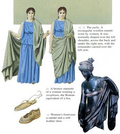Palla worn by Roman women. Mystery of History Volume Lessons 105 Ancient Roman Clothing, Greek Clothing, Medieval Clothing, Women's Clothing, Ancient Rome, Ancient Greece, Ancient History, Roman Dress, Roman Clothes